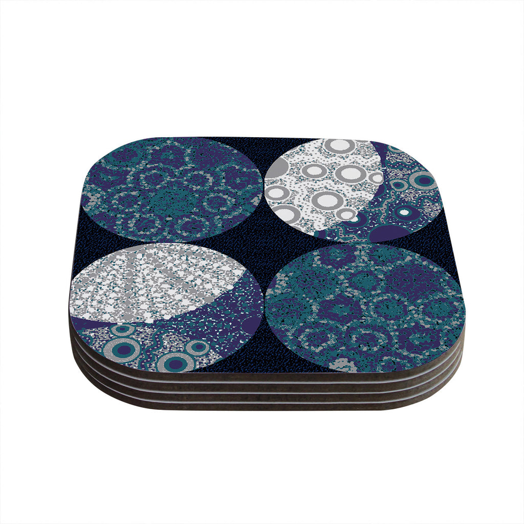 "Laura Nicholson ""Moons"" Blue Gray Coasters (Set of 4)"