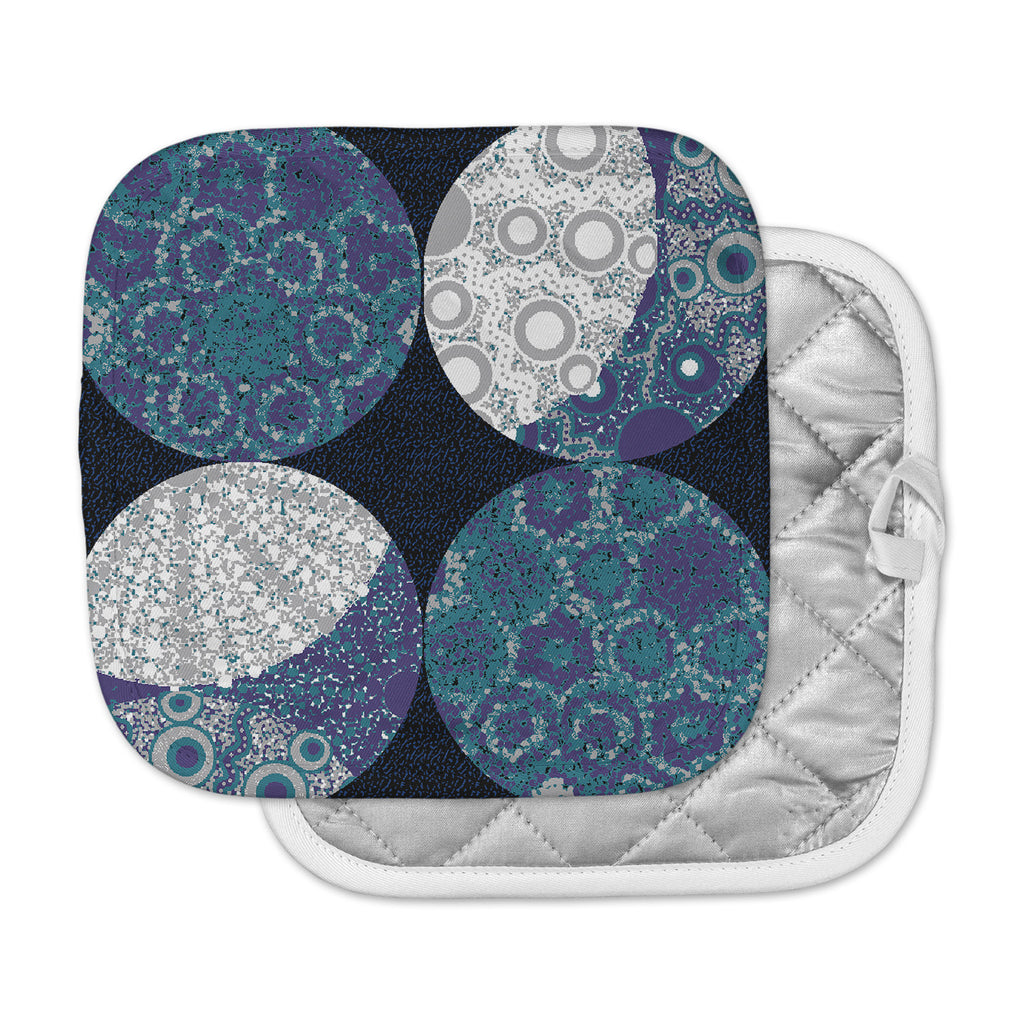"Laura Nicholson ""Moons"" Blue Gray Pot Holder"