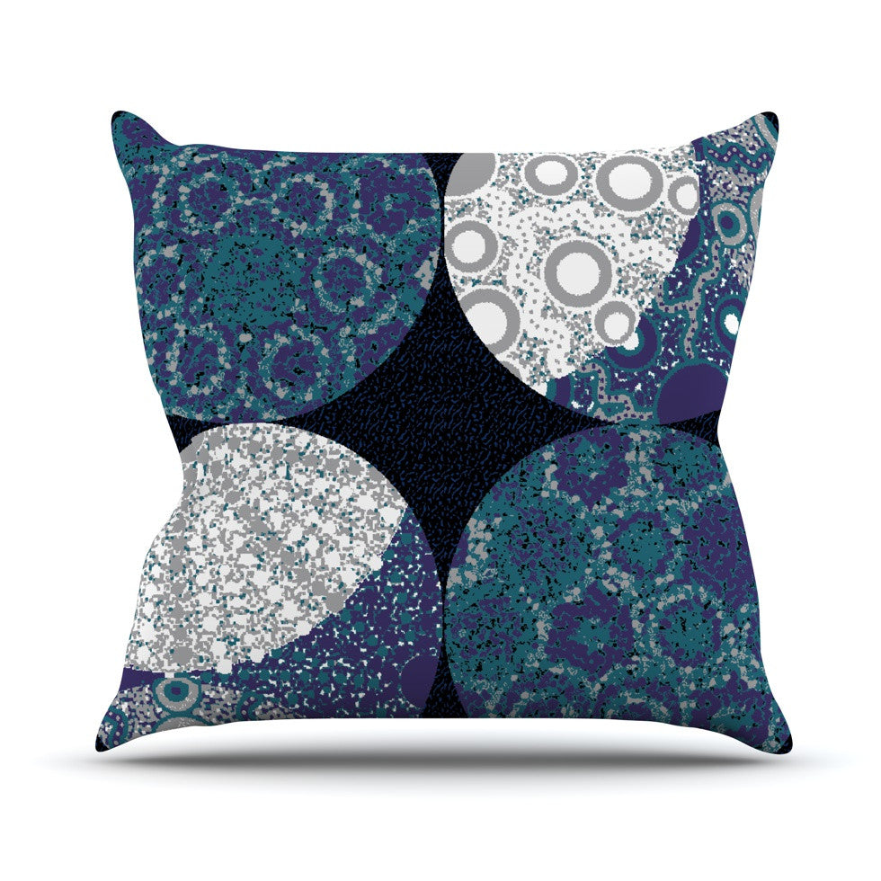 "Laura Nicholson ""Moons"" Blue Gray Throw Pillow - KESS InHouse  - 1"