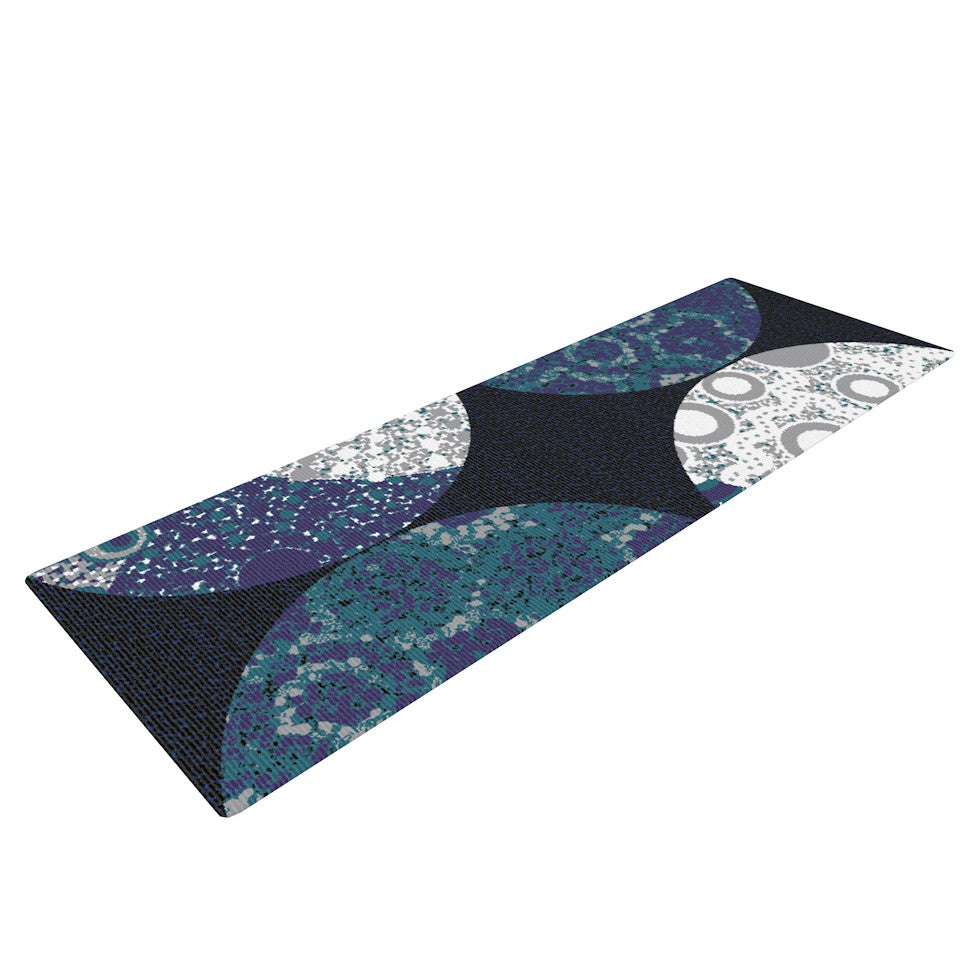 "Laura Nicholson ""Moons"" Blue Gray Yoga Mat - KESS InHouse  - 1"