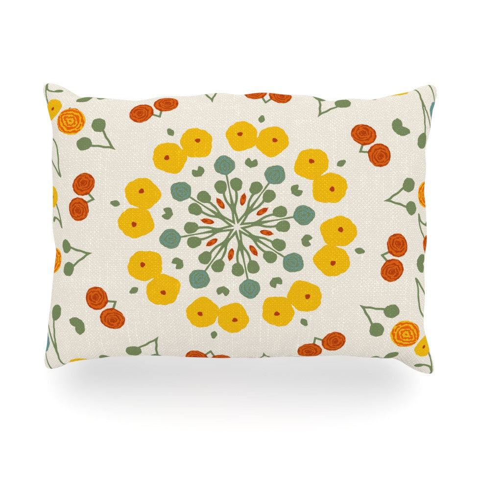 "Laura Nicholson ""Ranunculas"" Floral Yellow Oblong Pillow - KESS InHouse"