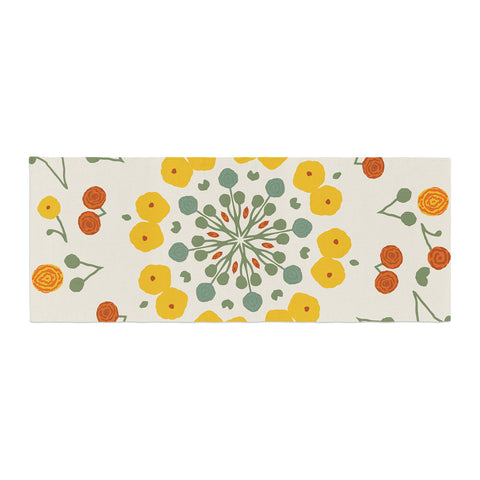 "Laura Nicholson ""Ranunculas"" Floral Yellow Bed Runner - KESS InHouse"