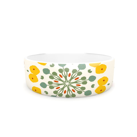 "Laura Nicholson ""Ranunculas"" Floral Yellow Pet Bowl - KESS InHouse"