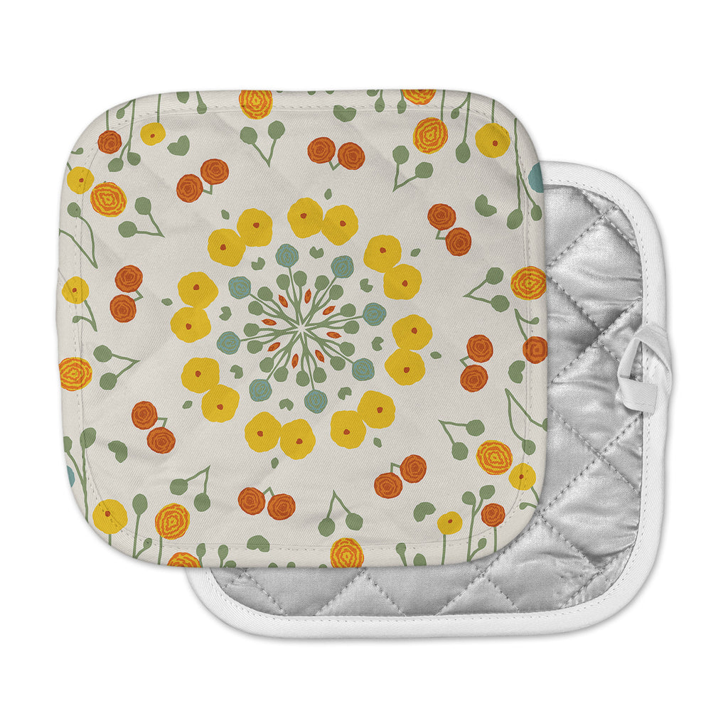 "Laura Nicholson ""Ranunculas"" Floral Yellow Pot Holder"