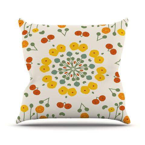 "Laura Nicholson ""Ranunculas"" Floral Yellow Outdoor Throw Pillow - KESS InHouse  - 1"