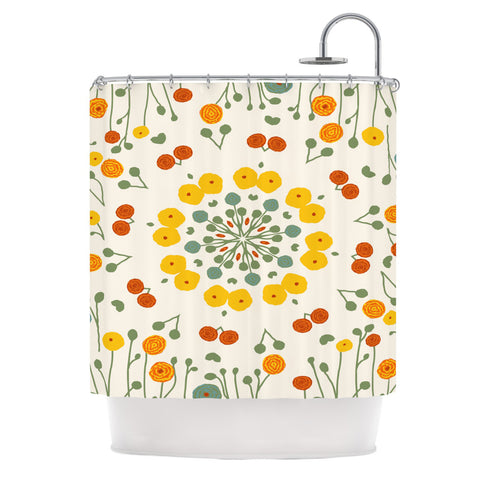 "Laura Nicholson ""Ranunculas"" Floral Yellow Shower Curtain - KESS InHouse"
