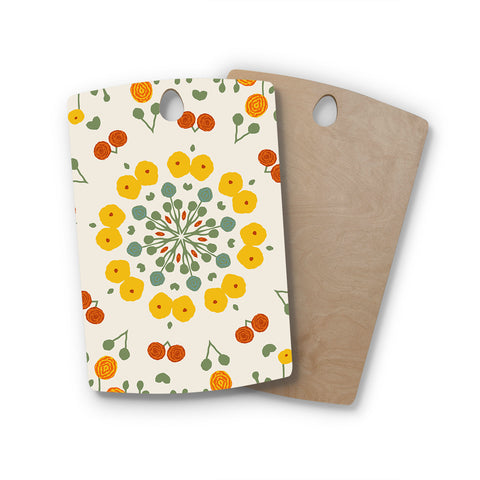 "Laura Nicholson ""Ranunculas"" Floral Yellow Rectangle Wooden Cutting Board"