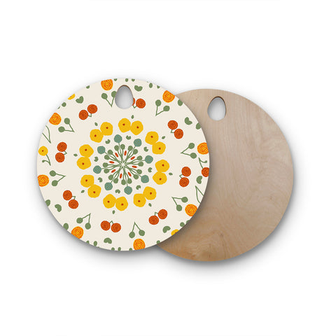 "Laura Nicholson ""Ranunculas"" Floral Yellow Round Wooden Cutting Board"