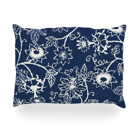 "Laura Nicholson ""Passion Flower"" Navy Floral Oblong Pillow - KESS InHouse"