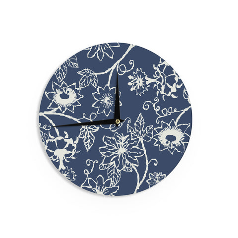 "Laura Nicholson ""Passion Flower"" Navy Floral Wall Clock - KESS InHouse"