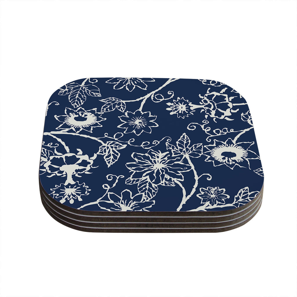 "Laura Nicholson ""Passion Flower"" Navy Floral Coasters (Set of 4)"