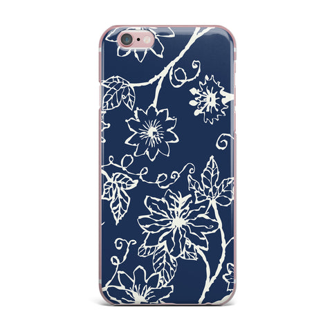 "Laura Nicholson ""Passion Flower"" Navy Floral iPhone Case - KESS InHouse"