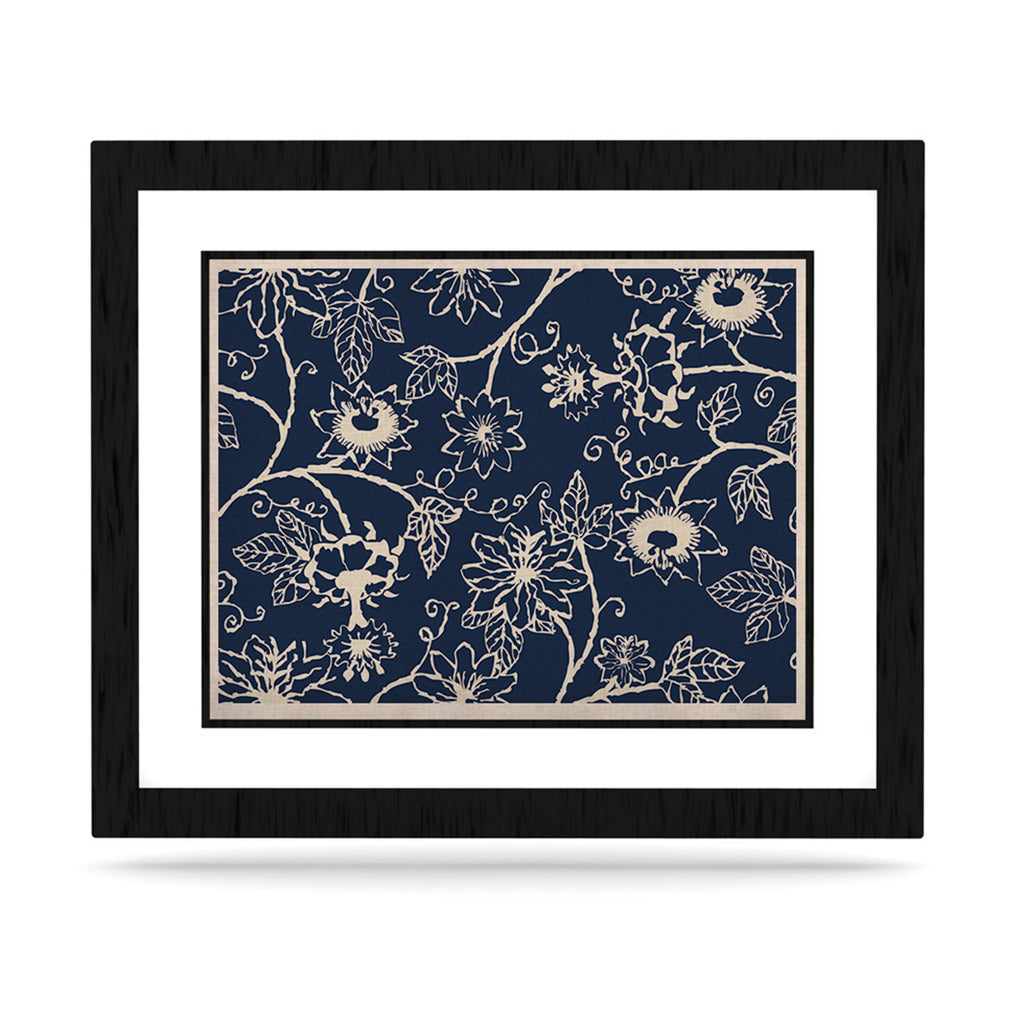 "Laura Nicholson ""Passion Flower"" Navy Floral KESS Naturals Canvas (Frame not Included) - KESS InHouse  - 1"