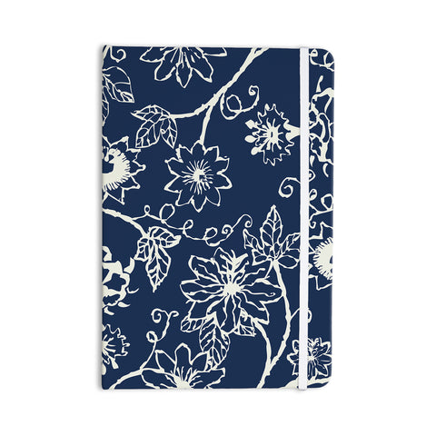 "Laura Nicholson ""Passion Flower"" Navy Floral Everything Notebook - KESS InHouse  - 1"