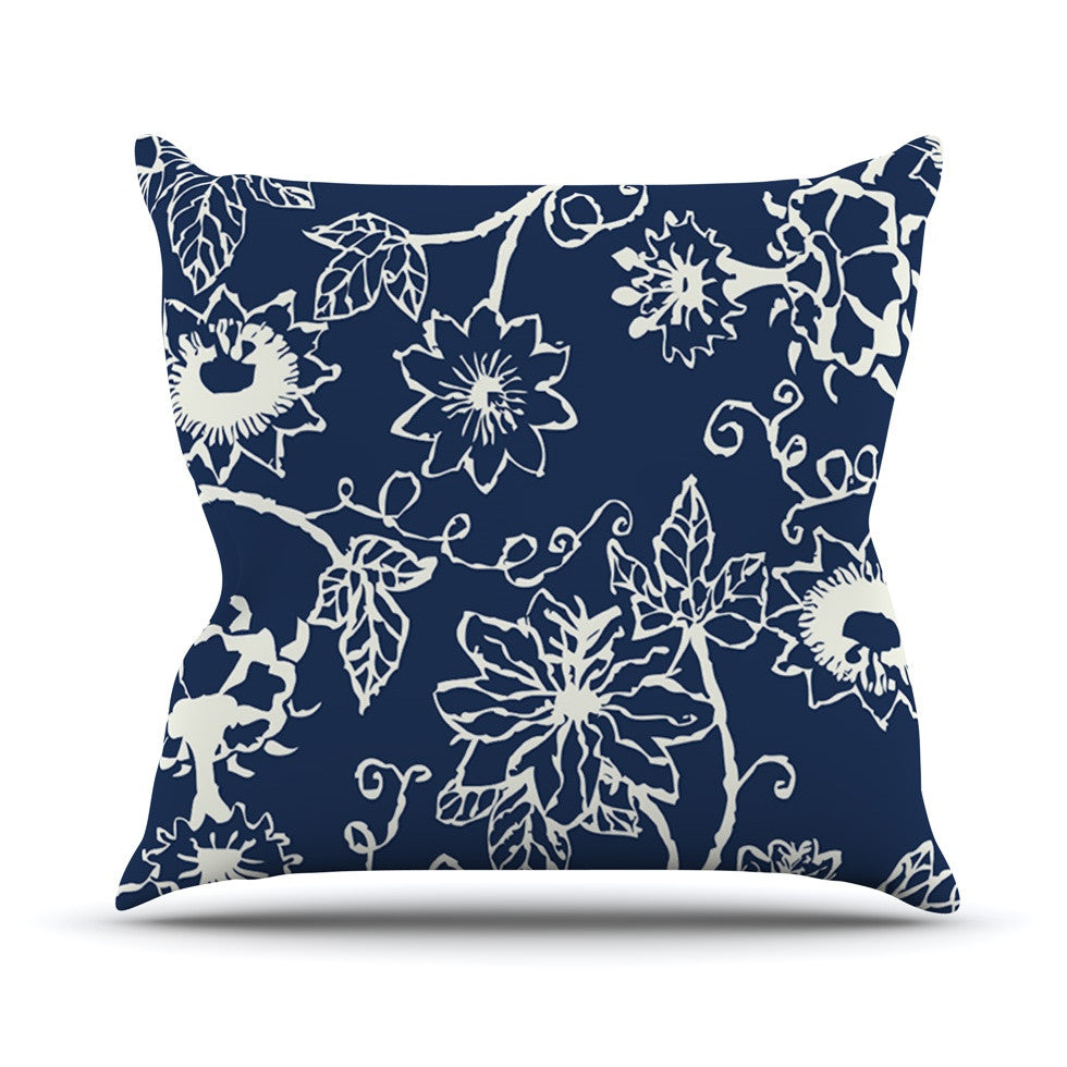 "Laura Nicholson ""Passion Flower"" Navy Floral Outdoor Throw Pillow - KESS InHouse  - 1"
