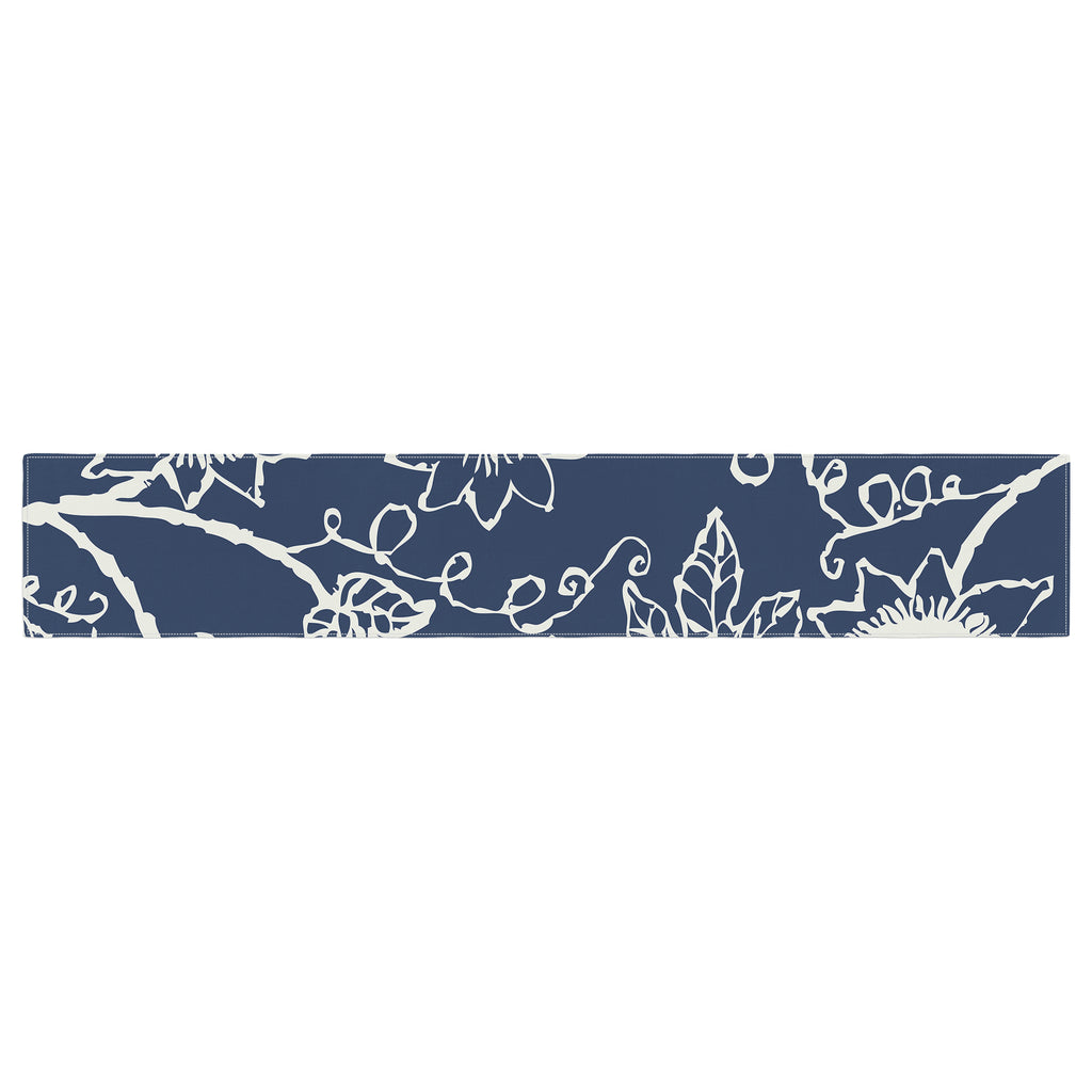 "Laura Nicholson ""Passion Flower"" Navy Floral Table Runner - Outlet Item"