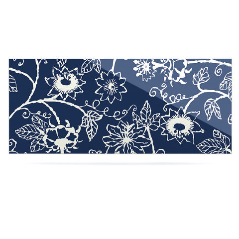 "Laura Nicholson ""Passion Flower"" Navy Floral Luxe Rectangle Panel - KESS InHouse  - 1"