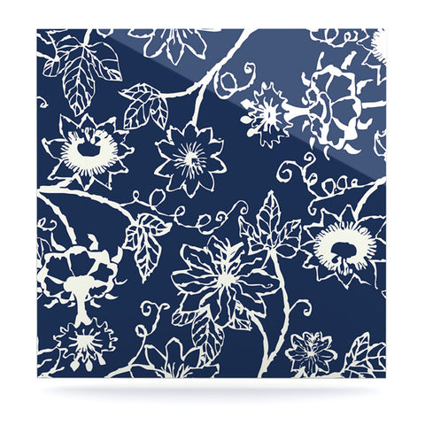 "Laura Nicholson ""Passion Flower"" Navy Floral Luxe Square Panel - KESS InHouse  - 1"