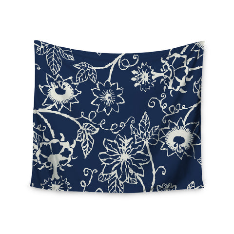 "Laura Nicholson ""Passion Flower"" Navy Floral Wall Tapestry - KESS InHouse  - 1"