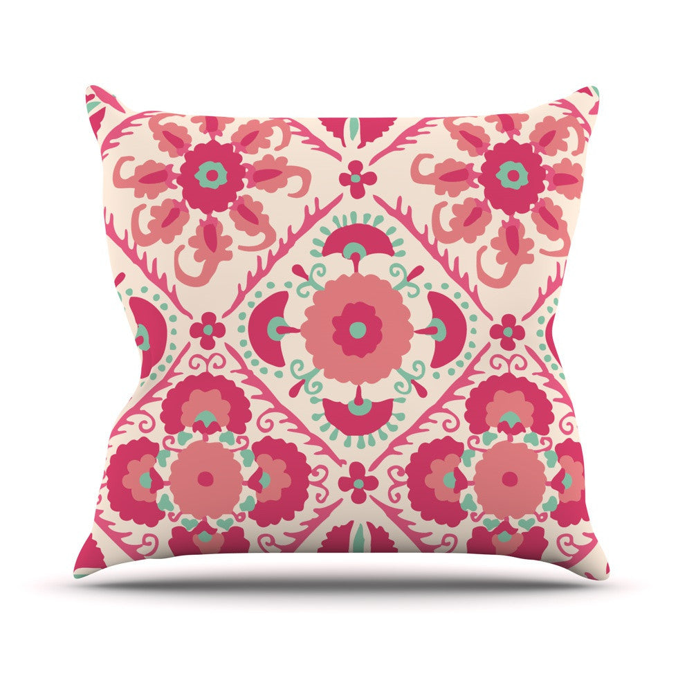 "Laura Nicholson ""Bukhara Coral"" Pink Floral Outdoor Throw Pillow - KESS InHouse  - 1"