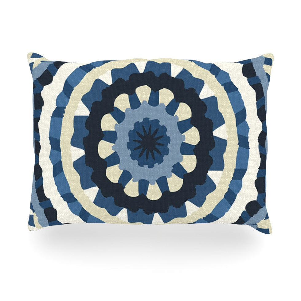 "Laura Nicholson ""Ribbon Mandala"" Navy Tan Oblong Pillow - KESS InHouse"