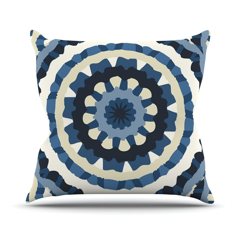 "Laura Nicholson ""Ribbon Mandala"" Navy Tan Outdoor Throw Pillow - KESS InHouse  - 1"