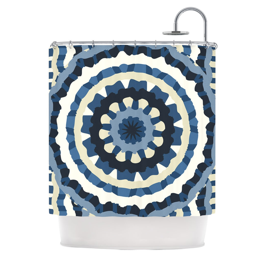 "Laura Nicholson ""Ribbon Mandala"" Navy Tan Shower Curtain - KESS InHouse"