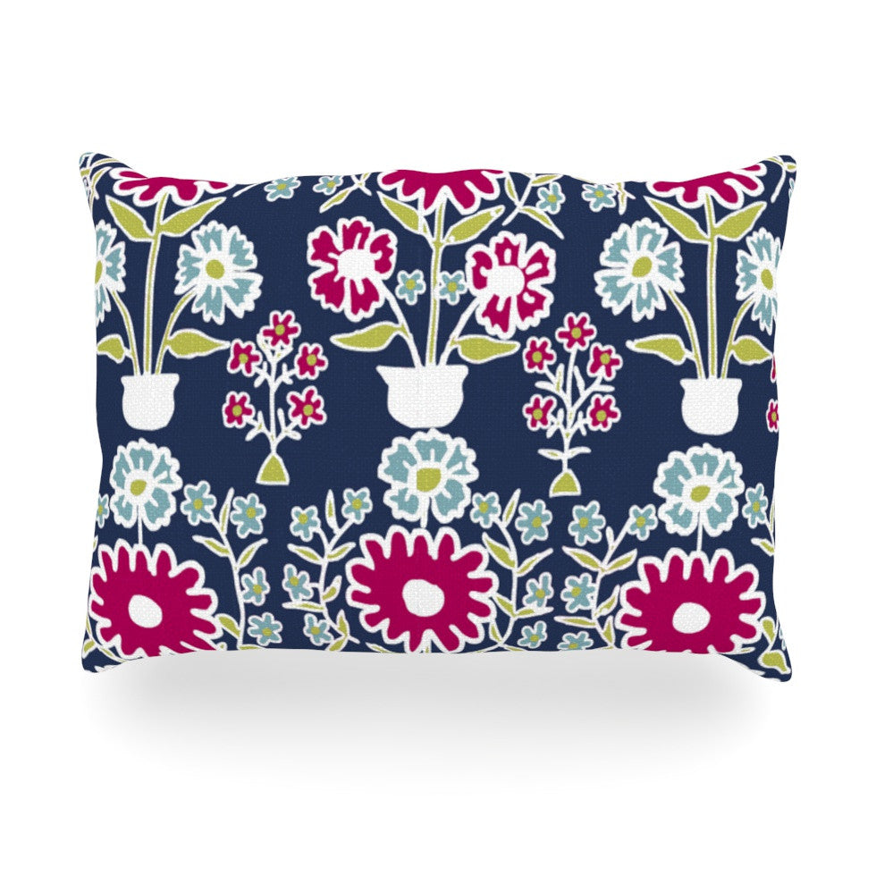 "Laura Nicholson ""Turkish Vase"" Navy Magenta Oblong Pillow - KESS InHouse"