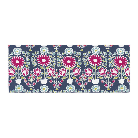 "Laura Nicholson ""Turkish Vase"" Navy Magenta Bed Runner - KESS InHouse"