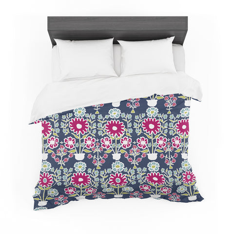 "Laura Nicholson ""Turkish Vase"" Navy Magenta Featherweight Duvet Cover"