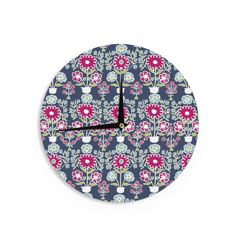 "Laura Nicholson ""Turkish Vase"" Navy Magenta Wall Clock - KESS InHouse"