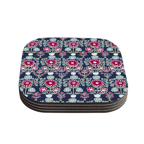 "Laura Nicholson ""Turkish Vase"" Navy Magenta Coasters (Set of 4)"