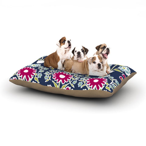 "Laura Nicholson ""Turkish Vase"" Navy Magenta Dog Bed - KESS InHouse  - 1"