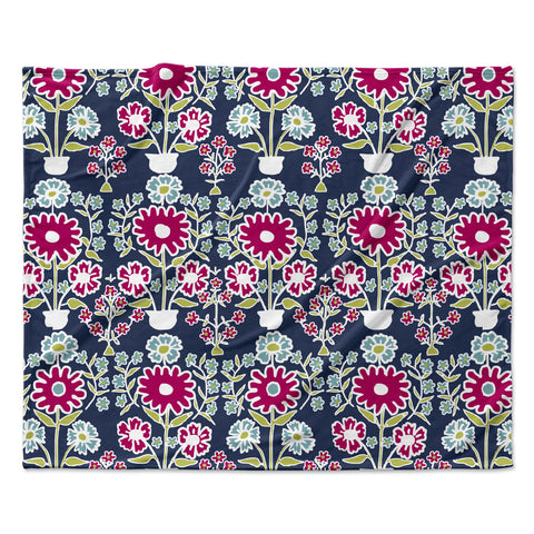 "Laura Nicholson ""Turkish Vase"" Navy Magenta Fleece Throw Blanket"
