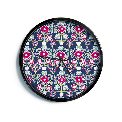 "Laura Nicholson ""Turkish Vase"" Navy Magenta Modern Wall Clock"