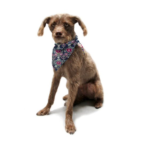 "Laura Nicholson ""Turkish Vase"" Navy Magenta Pet Bandana - KESS InHouse  - 1"