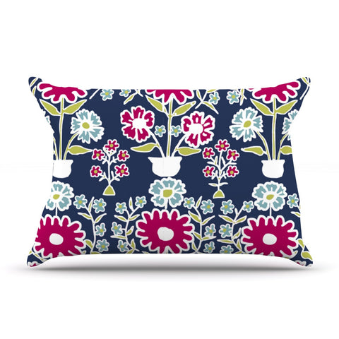 "Laura Nicholson ""Turkish Vase"" Navy Magenta Pillow Sham - KESS InHouse"