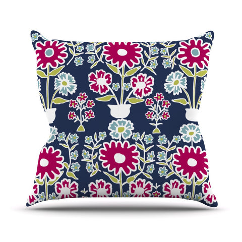 "Laura Nicholson ""Turkish Vase"" Navy Magenta Outdoor Throw Pillow - KESS InHouse  - 1"