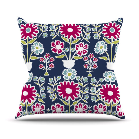 "Laura Nicholson ""Turkish Vase"" Navy Magenta Throw Pillow - Outlet Item"