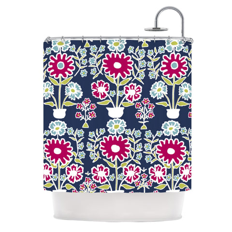"Laura Nicholson ""Turkish Vase"" Navy Magenta Shower Curtain - KESS InHouse"