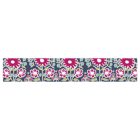 "Laura Nicholson ""Turkish Vase"" Navy Magenta Table Runner - KESS InHouse  - 1"
