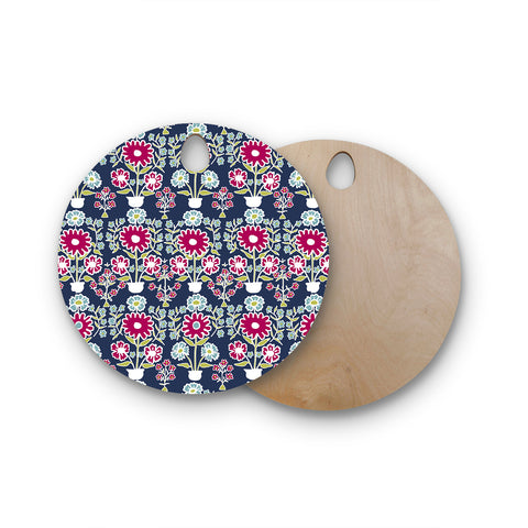 "Laura Nicholson ""Turkish Vase"" Navy Magenta Round Wooden Cutting Board"
