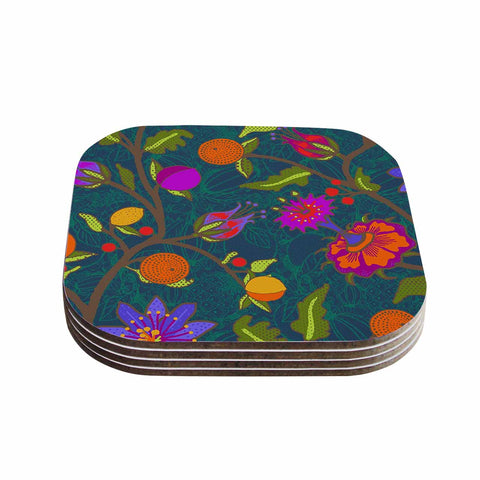 "Laura Nicholson ""Flora Exotica"" Teal Floral Coasters (Set of 4)"