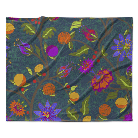 "Laura Nicholson ""Flora Exotica"" Teal Floral Fleece Throw Blanket"