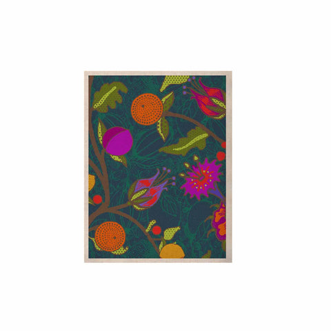 "Laura Nicholson ""Flora Exotica"" Teal Floral KESS Naturals Canvas (Frame not Included) - KESS InHouse  - 1"