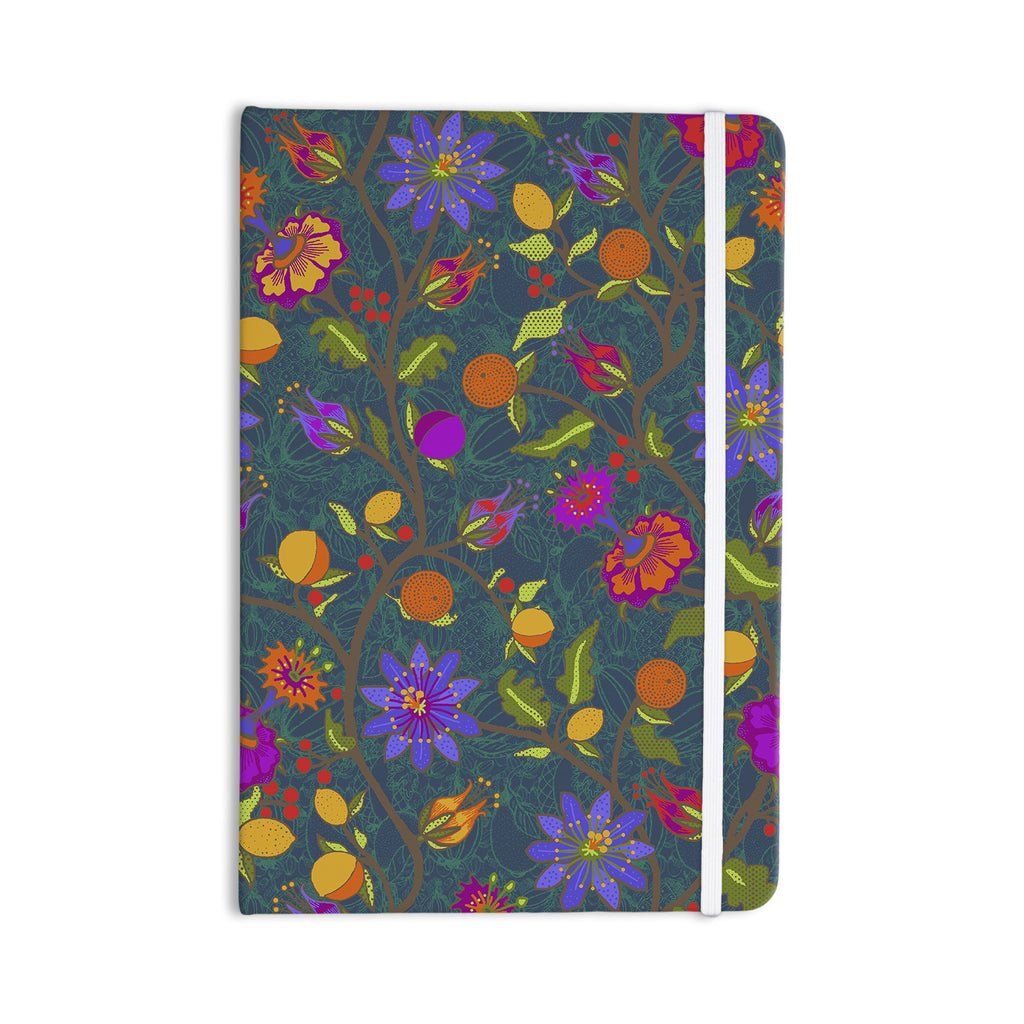 "Laura Nicholson ""Flora Exotica"" Teal Floral Everything Notebook - KESS InHouse  - 1"