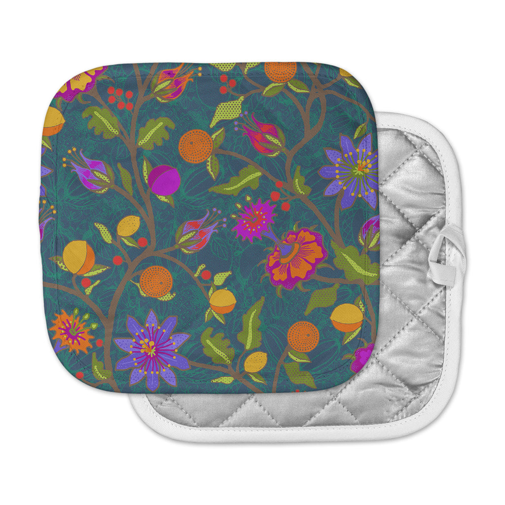 "Laura Nicholson ""Flora Exotica"" Teal Floral Pot Holder"