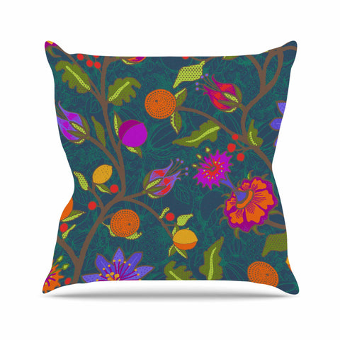 "Laura Nicholson ""Flora Exotica"" Teal Floral Throw Pillow - KESS InHouse  - 1"