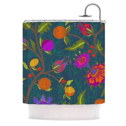 "Laura Nicholson ""Flora Exotica"" Teal Floral Shower Curtain - KESS InHouse"