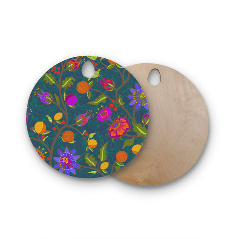 "Laura Nicholson ""Flora Exotica"" Teal Floral Round Wooden Cutting Board"